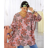 Tunique longue grande taille ethnique tencel rose JASPER Tunique femme grande taille