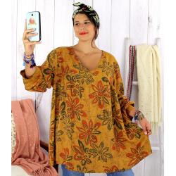 Tunique longue grande taille ethnique tencel moutarde JASPER Tunique femme grande taille