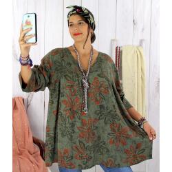 Tunique longue grande taille ethnique tencel kaki JASPER Tunique femme grande taille