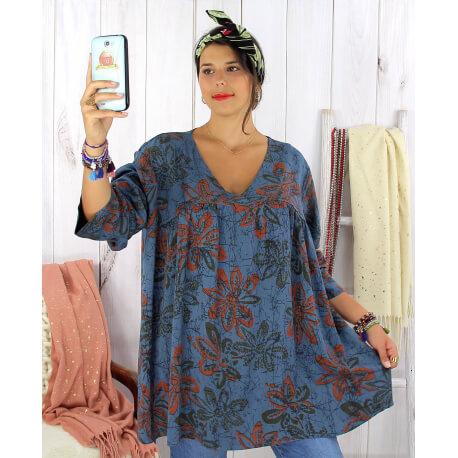 Tunique longue grande taille ethnique tencel bleu jean JASPER Tunique femme grande taille