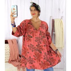 Tunique longue grande taille ethnique tencel vieux rose JASPER Tunique femme grande taille