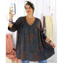Tunique longue grande taille ethnique tencel gris JASPER Tunique femme grande taille