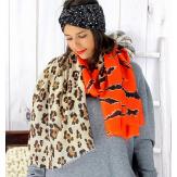 Foulard châle écharpe imprimés animaliers orange chocolat FOU67 Foulard femme