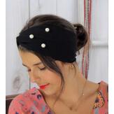 Bandeau turban cheveux femme perles noir BC1 Accessoires mode femme