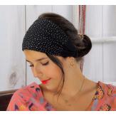 Bandeau turban cheveux femme strass noir BC3 Accessoires mode femme