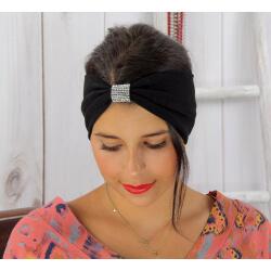 Bandeau turban cheveux femme strass noir BC4 Accessoires mode femme