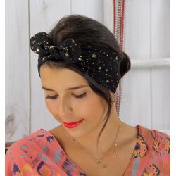 Bandeau turban cheveux femme noir et or BC5 Accessoires mode femme