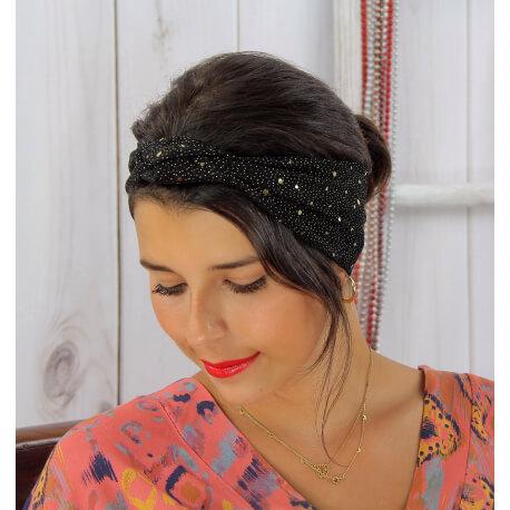 Bandeau turban cheveux femme noir et or BC6 Accessoires mode femme