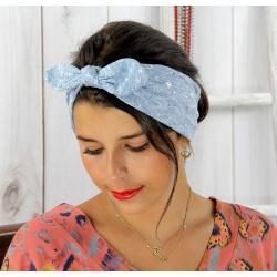 Bandeau turban cheveux femme bleu argent BC7 Accessoires mode femme