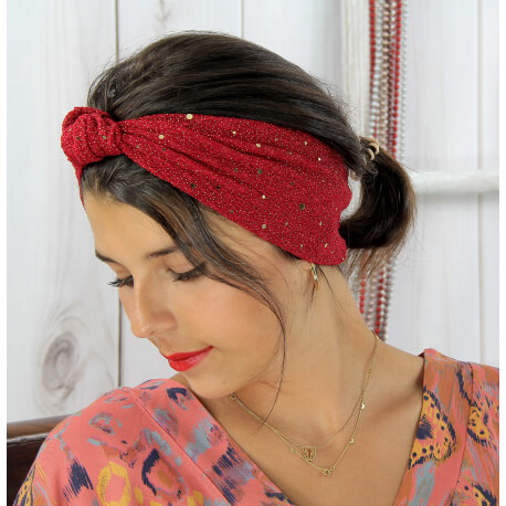 Bandeau turban cheveux femme bordeaux or BC8 Accessoires mode femme