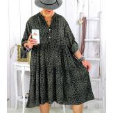 Robe évasée grande taille bohème léopard kaki JODY Robe grande taille