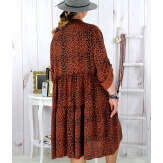 Robe évasée grande taille bohème léopard rouille JODY Robe grande taille