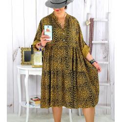Robe évasée grande taille bohème léopard moutarde JODY Robe grande taille