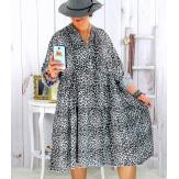 Robe évasée grande taille bohème léopard blanc JODY Robe grande taille