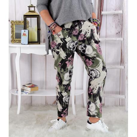 Pantalon femme grande taille stretch suédine kaki MARNO Pantalon femme grande taille