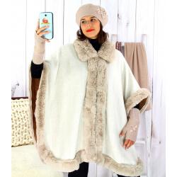 Cape femme grande taille hiver laine fourrure beige HOPPER Cape femme grande taille