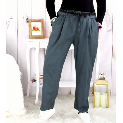 Pantalon femme grande taille stretch gris MOKA Pantalon femme grande taille