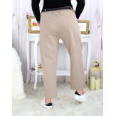 Pantalon femme grande taille stretch beige MOKA Pantalon femme grande taille