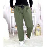 Pantalon femme grande taille stretch kaki MOKA Pantalon femme grande taille