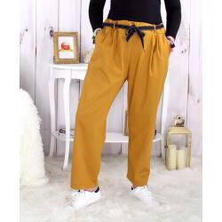 Pantalon femme grande taille stretch moutarde MOKA Pantalon femme grande taille