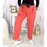 Pantalon femme grande taille stretch brique MOKA Pantalon femme grande taille