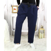 Pantalon femme grande taille stretch bleu marine MOKA Pantalon femme grande taille