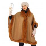 Cape femme grande taille hiver laine fourrure fauve HOPPER Cape femme grande taille