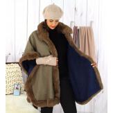 Cape femme grande taille hiver laine fourrure kaki HOPPER Cape femme grande taille