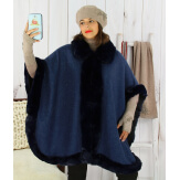Cape femme grande taille hiver laine fourrure bleu marine HOPPER Cape femme grande taille