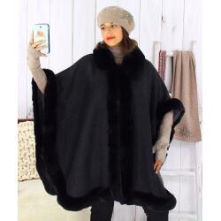 Cape femme grande taille hiver laine fourrure noire HOPPER Cape femme grande taille