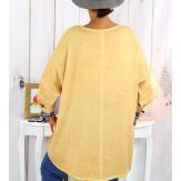 Tunique grande taille asymétrique tencel moutarde CAICOS Tunique femme grande taille