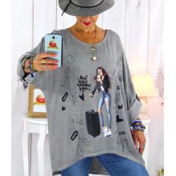 Tunique grande taille asymétrique tencel gris CAICOS Tunique femme grande taille