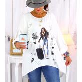 Tunique grande taille asymétrique tencel blanc CAICOS Tunique femme grande taille