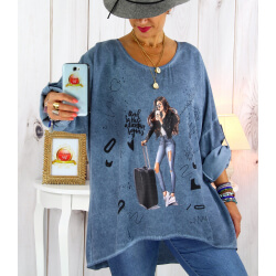 Tunique grande taille asymétrique tencel bleu CAICOS Tunique femme grande taille