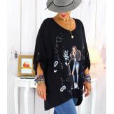 Tunique grande taille asymétrique tencel noir CAICOS Tunique femme grande taille