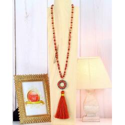 Sautoir long perles verre strass pompon satin C160 Collier sautoir fantaisie