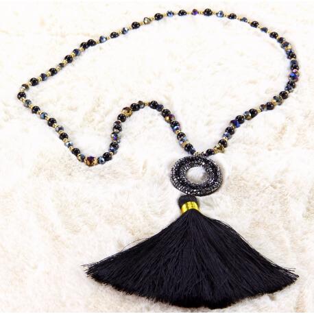 Sautoir long perles verre strass pompon satin C161 Collier sautoir fantaisie