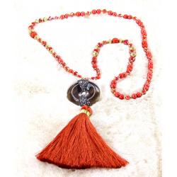Sautoir long perles verre strass pompon résine C162 Collier sautoir fantaisie