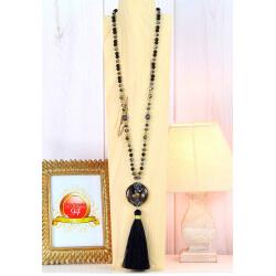 Sautoir long perles verre strass pompon résine C163 Collier sautoir fantaisie