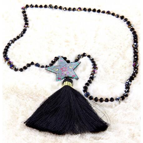 Sautoir long perles verre pompon étoile graphique C164 Collier sautoir fantaisie