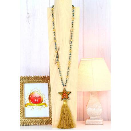 Sautoir long perles verre pompon étoile graphique C165 Collier sautoir fantaisie