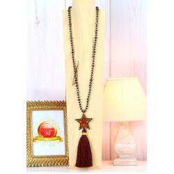 Sautoir long perles verre pompon étoile graphique C166 Collier sautoir fantaisie