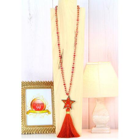 Sautoir long perles verre pompon étoile graphique C167 Collier sautoir fantaisie