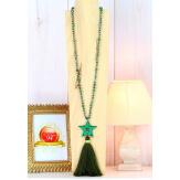 Sautoir long perles verre pompon étoile graphique C168 Collier sautoir fantaisie