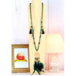 Sautoir long perles verre pompon arbre de vie plumes C169 Collier sautoir fantaisie