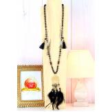 Sautoir long perles verre pompon arbre de vie plumes C170 Collier sautoir fantaisie