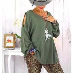 Tunique grande taille épaules dénudées collier kaki OPAL Tunique femme grande taille