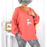 Tunique grande taille épaules dénudées collier rose corail OPAL Tunique femme grande taille