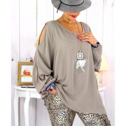 Tunique grande taille épaules dénudées collier taupe OPAL Tunique femme grande taille