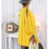 Tunique grande taille épaules dénudées collier jaune OPAL Tunique femme grande taille